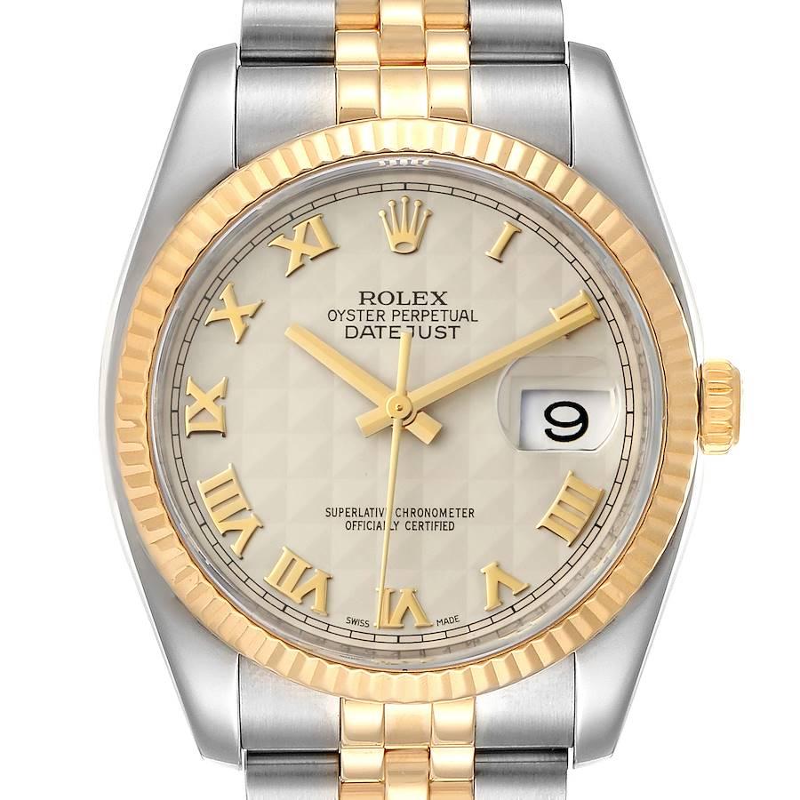 Rolex Datejust Steel Yellow Gold Pyramid Roman Dial Mens Watch 116233 SwissWatchExpo