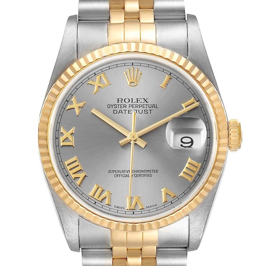 Rolex Datejust Steel Yellow Gold Slate Roman Dial Mens Watch 16233 SwissWatchExpo