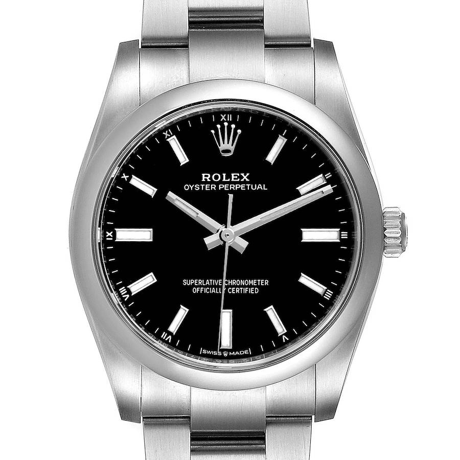 Rolex Oyster Perpetual 34mm Black Dial Steel Watch 124200 Unworn SwissWatchExpo