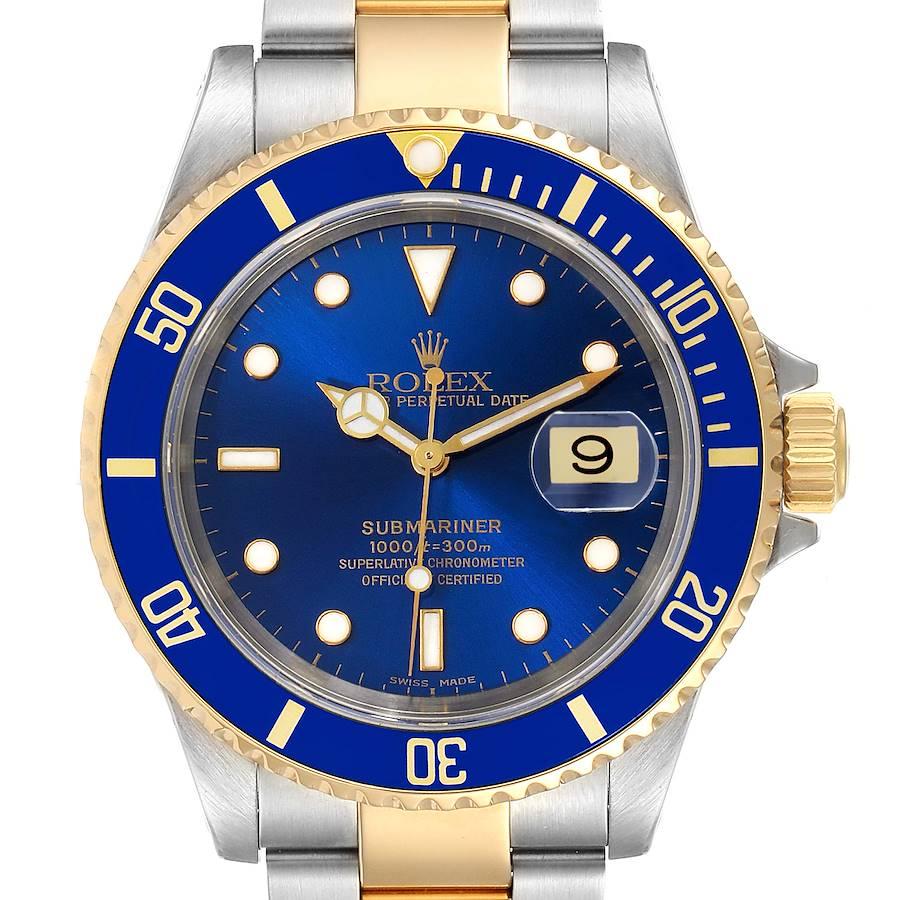 Rolex Submariner Blue Dial Steel Yellow Gold Mens Watch 16613 SwissWatchExpo
