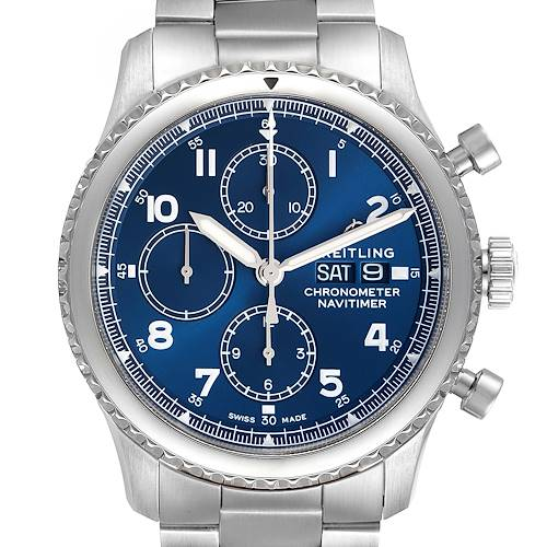 Photo of Breitling Navitimer Blue Dial Chronograph Steel Mens Watch A13314 Box Papers