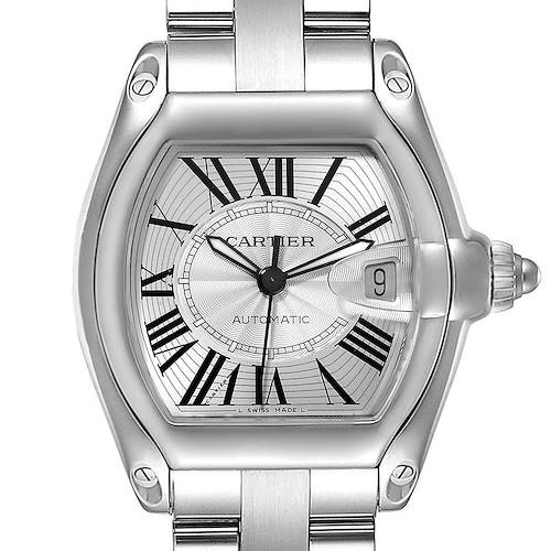 Cartier Roadster Silver Dial Large Steel Mens Watch W62025V3