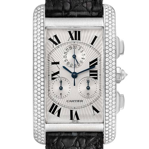 Photo of Cartier Tank Americaine Chronograph White Gold Diamond Mens Watch 2339