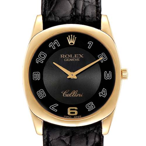 Photo of Rolex Cellini Danaos Yellow Gold Brown Strap Mens Watch 4233