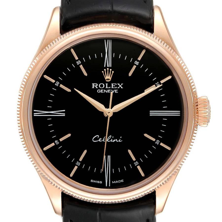Rolex Cellini Time 18K EveRose Gold Black Dial Mens Watch 50505 SwissWatchExpo