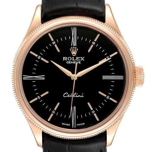 Rolex Cellini Time 18K EveRose Gold Black Dial Mens Watch 50505