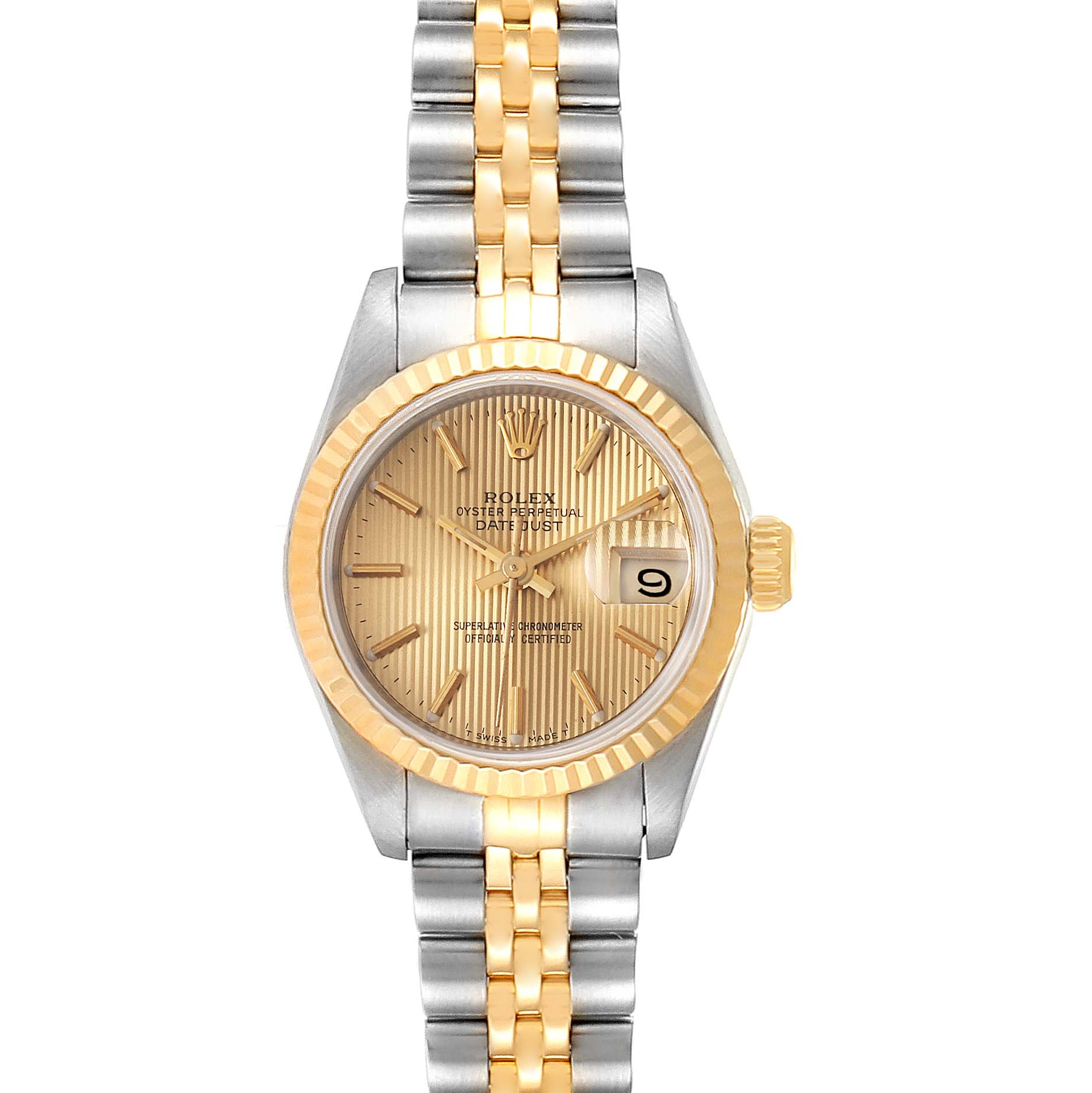 Photo of Rolex Datejust 26 Steel Yellow Gold Tapestry Dial Ladies Watch 69173