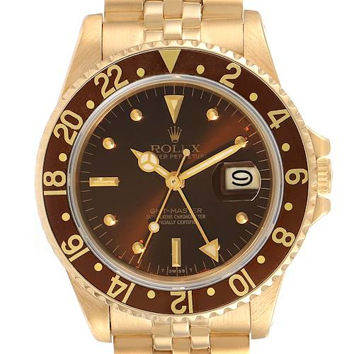Photo of Rolex GMT Master Rootbeer 18k Yellow Gold Mens Vintage Watch 16758
