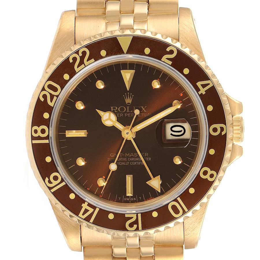 Rolex GMT Master Rootbeer 18k Yellow Gold Mens Vintage Watch 16758 SwissWatchExpo