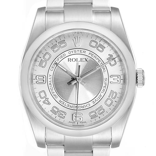Photo of Rolex Oyster Perpetual Silver Concentric Dial Steel Mens Watch 116000