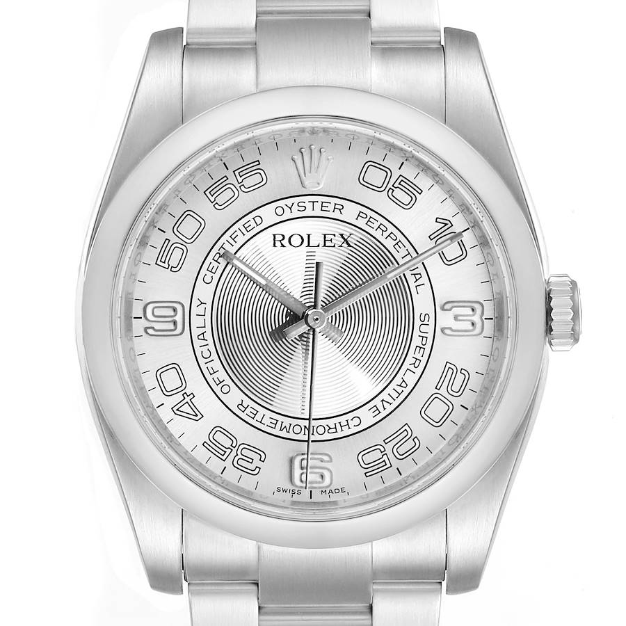 Rolex Oyster Perpetual Silver Concentric Dial Steel Mens Watch 116000 SwissWatchExpo
