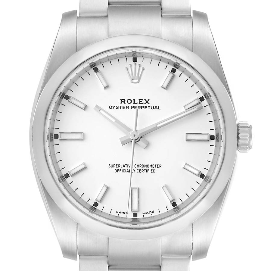 Rolex Oyster Perpetual White Dial Domed Bezel Mens Watch 114200 Unworn SwissWatchExpo