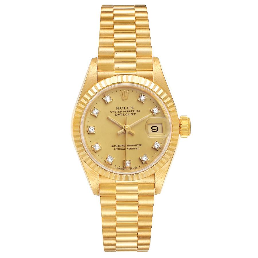 Rolex President Datejust 18K Yellow Gold Diamond Ladies Watch 69178 SwissWatchExpo