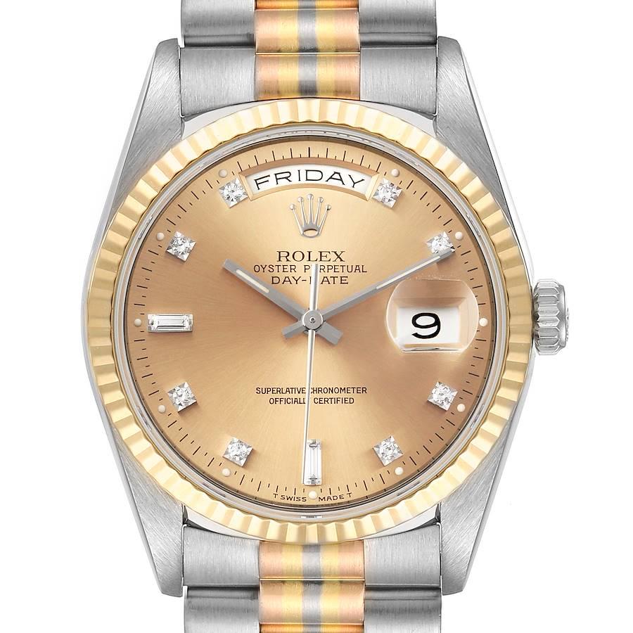 Rolex President Day-Date Tridor White Yellow Rose Gold Diamond Watch 18239 SwissWatchExpo
