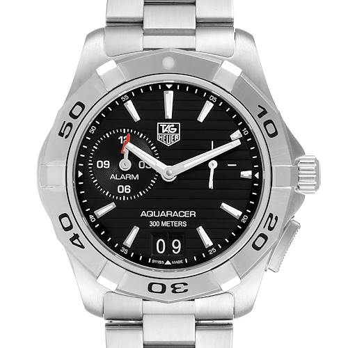 Tag Heuer Aquaracer Alarm Black Dial Steel Mens Watch WAP111Z Box Card