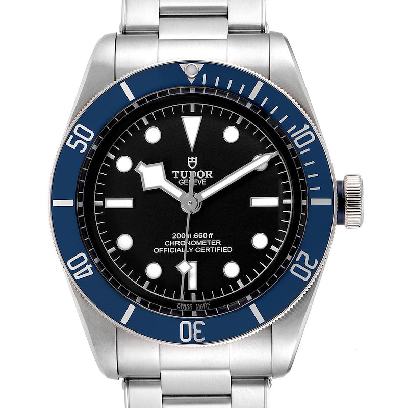 Tudor Heritage Black Bay Blue Bezel Steel Watch 79230B Box Papers SwissWatchExpo