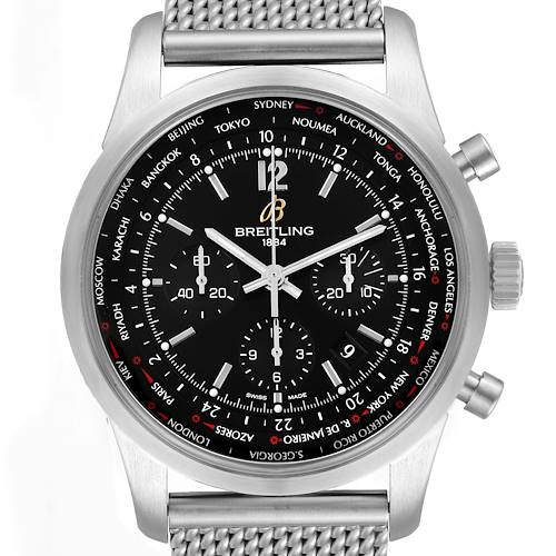 Photo of Breitling Transocean Chronograph Black Dial Steel Watch AB0510 Box Card