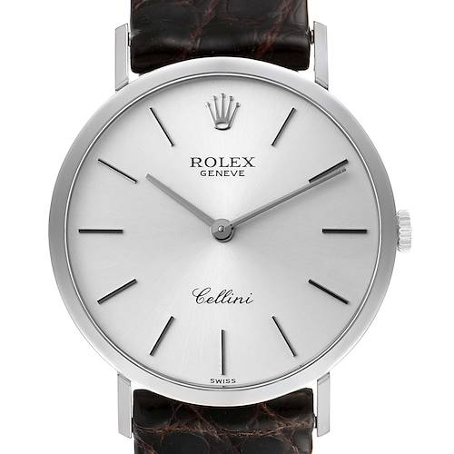 Rolex Cellini Classic 18k White Gold Silver Dial Mens Watch 4112