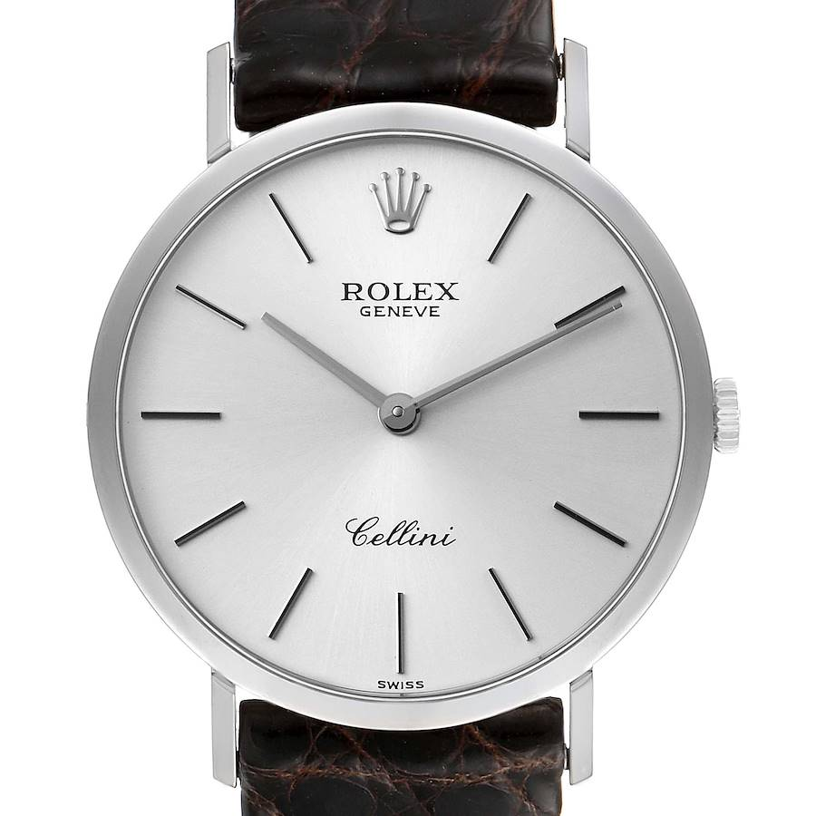 Rolex Cellini Classic 18k White Gold Silver Dial Mens Watch 4112 SwissWatchExpo
