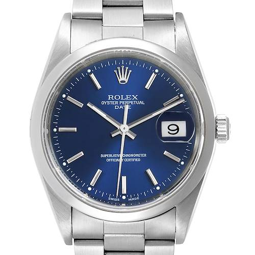 Photo of Rolex Date Blue Dial Oyster Bracelet Steel Mens Watch 15200