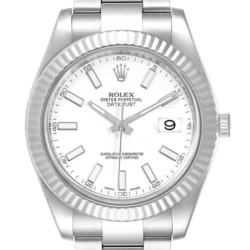 Photo of Rolex Datejust II 41mm Steel White Gold Mens Watch 116334 Box Card