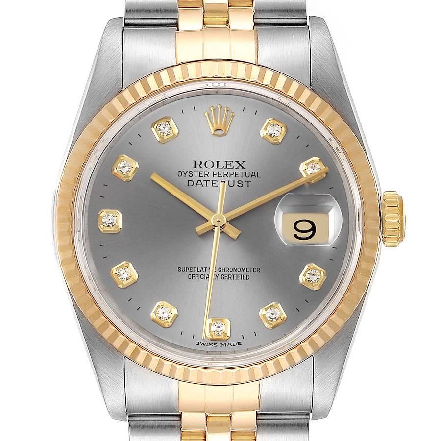 Rolex Datejust Steel 18K Yellow Gold Slate Diamond Dial Mens Watch 16233 SwissWatchExpo