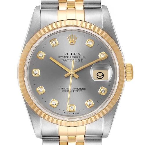 Photo of Rolex Datejust Steel 18K Yellow Gold Slate Diamond Dial Mens Watch 16233