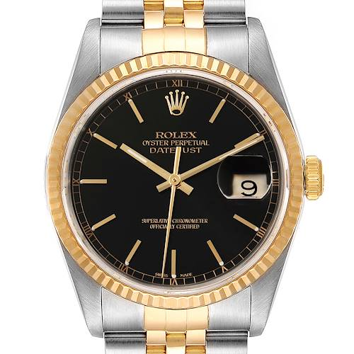 Photo of Rolex Datejust Steel Yellow Gold Black Dial Mens Watch 16233