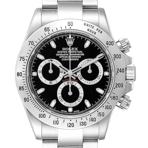 Photo of Rolex Daytona Black Dial Chronograph Stainless Steel Mens Watch 116520