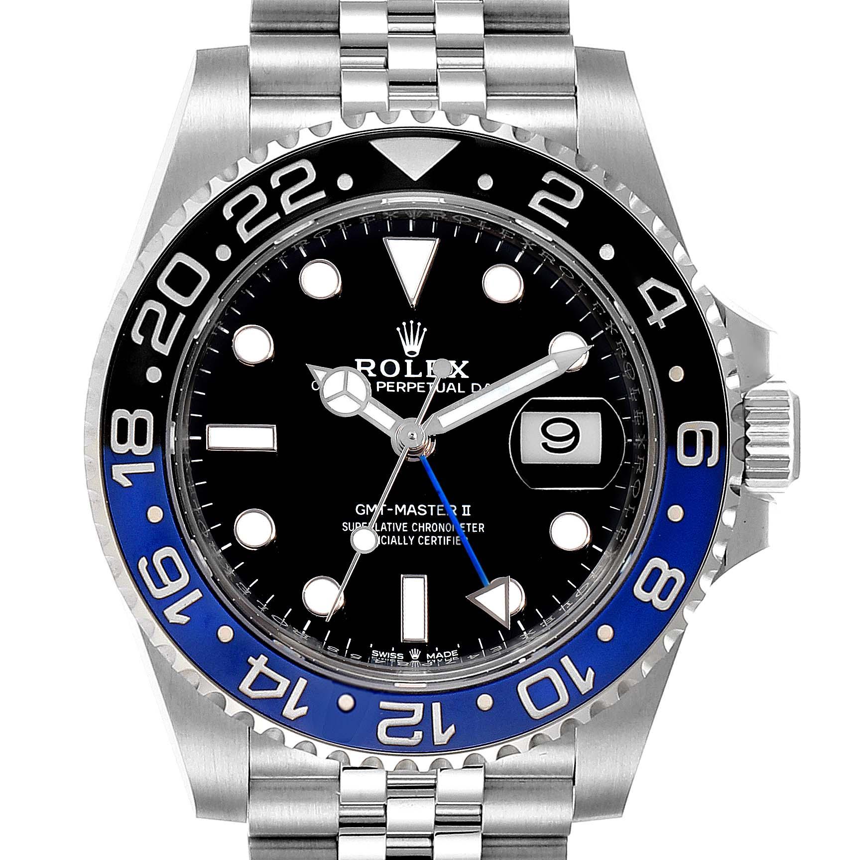 Rolex GMT Master II Black Blue Batman Jubilee Bracelet Mens Watch 126710
