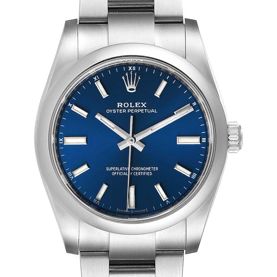 Rolex Oyster Perpetual 34mm Blue Dial Steel Mens Watch 124200 Unworn SwissWatchExpo