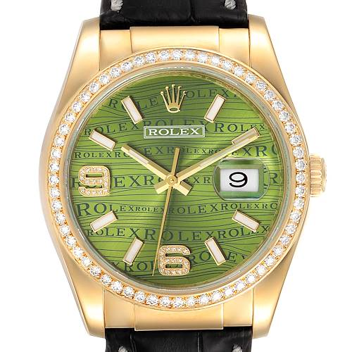 Photo of Rolex President 18k Yellow Gold Green Wave Dial Diamond Mens Watch 116188