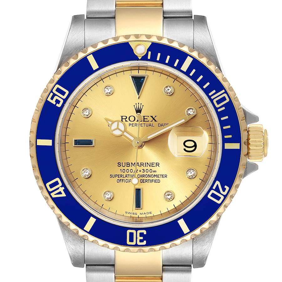 Rolex Submariner Steel Gold Diamond Sapphire Serti Dial Watch 16613 Box Papers SwissWatchExpo