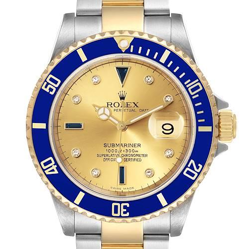 Photo of Rolex Submariner Steel Gold Diamond Sapphire Serti Dial Watch 16613 Box Papers