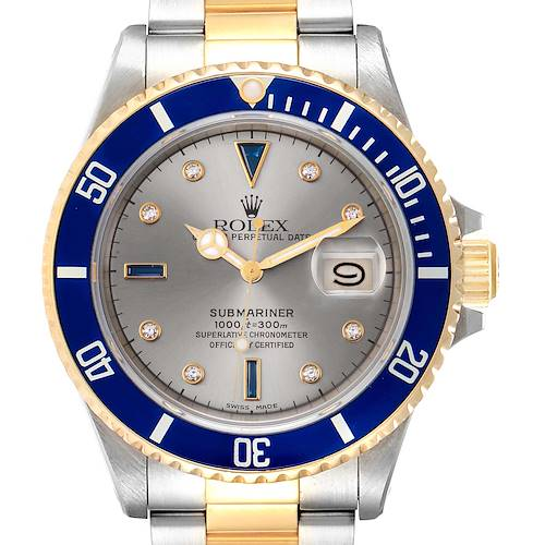 Photo of Rolex Submariner Steel Gold Slate Diamond Sapphire Serti Dial Watch 16803