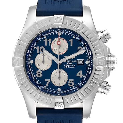 Photo of Breitling Aeromarine Super Avenger Blue Dial Rubber Strap Watch A13370