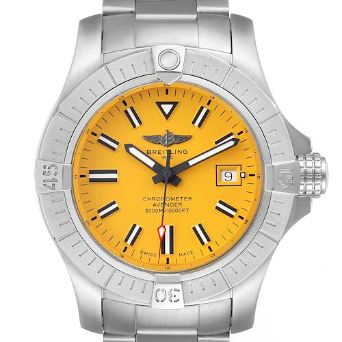 Photo of Breitling Avenger 45 Seawolf Yellow Dial Mens Watch A17319 Box Card