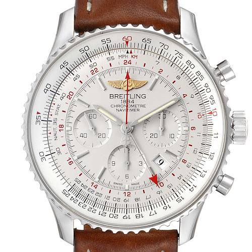 Photo of Breitling Navitimer GMT 48 Silver Dial Steel Mens Watch AB0441 Box Papers