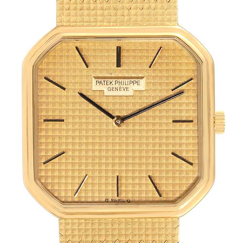 Photo of Patek Philippe Yellow Gold Linen Pattern Dial Mechanical Mens Watch 3854