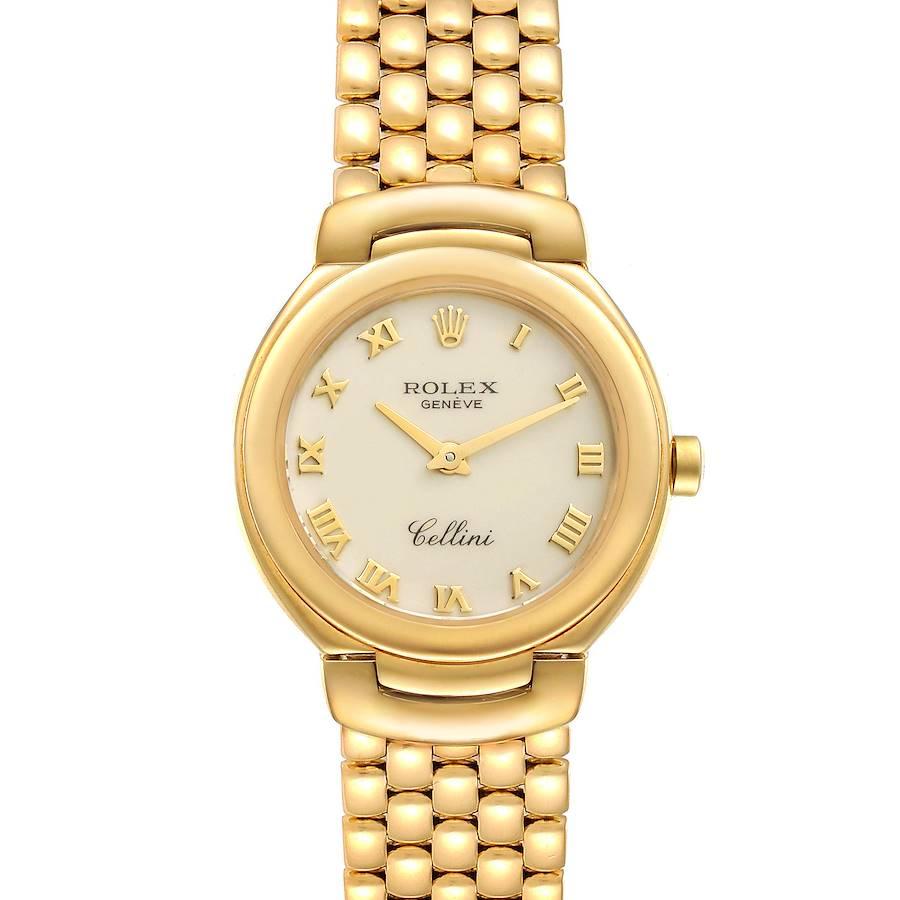 Rolex Cellini 26mm Ivory Roman Dial Yellow Gold Ladies Watch 6621 SwissWatchExpo