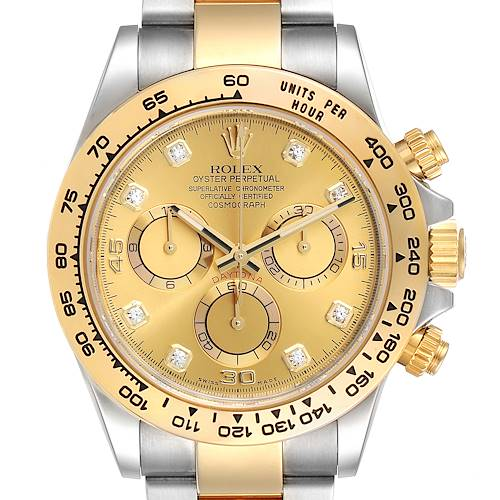 Rolex Cosmograph Daytona Steel Yellow Gold Diamond Watch 116503 Card