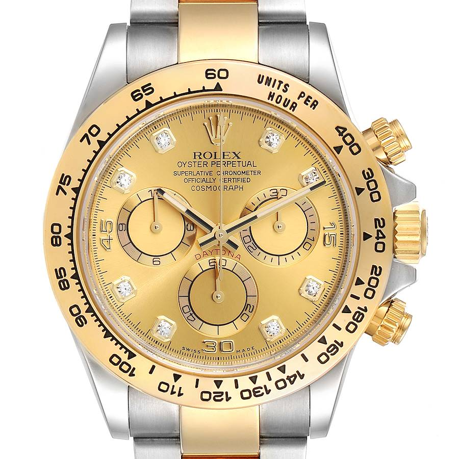 Rolex Cosmograph Daytona Steel Yellow Gold Diamond Watch 116503 Card SwissWatchExpo