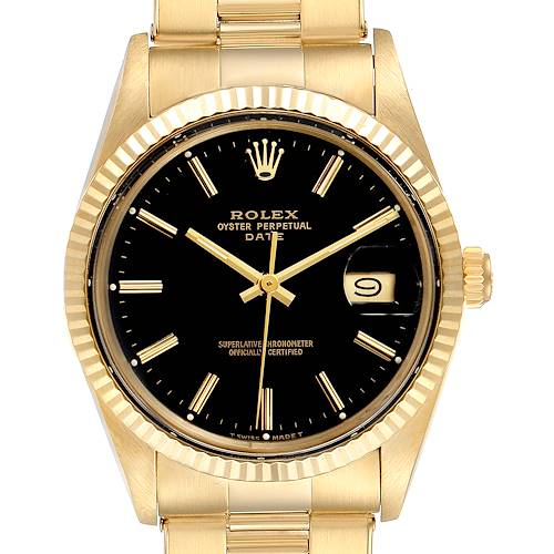 Rolex Date Black Dial 14k Yellow Gold Vintage Mens Watch 15037