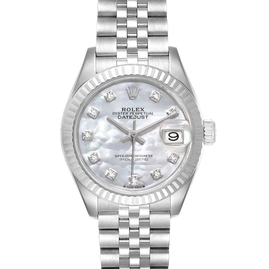 Rolex Datejust 28 Steel White Gold MOP Diamond Ladies Watch 279174 Box Card SwissWatchExpo