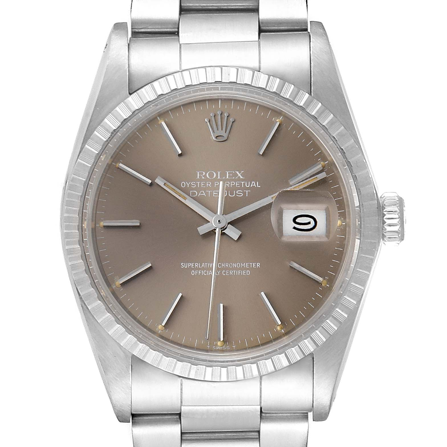 Rolex Datejust 36mm Bronze Dial Steel Vintage Mens Watch 16030