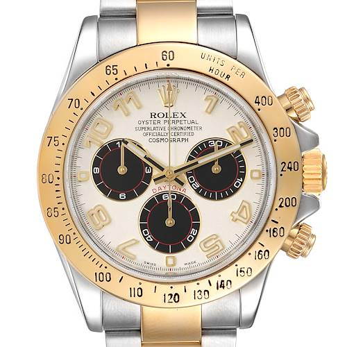 Rolex Daytona Steel 18k Yellow Gold Panda Dial Mens Watch 116523