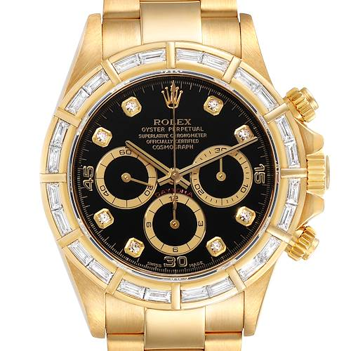 Rolex Daytona Yellow Gold Diamond Dial Bezel Chronograph Mens Watch 16568