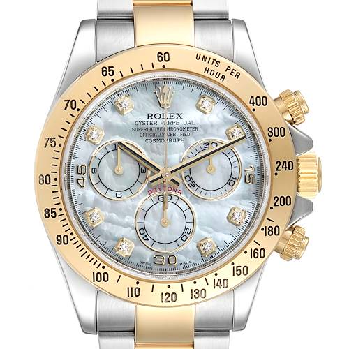 Rolex Daytona Yellow Gold Steel MOP Diamond Mens Watch 116523 Box Card