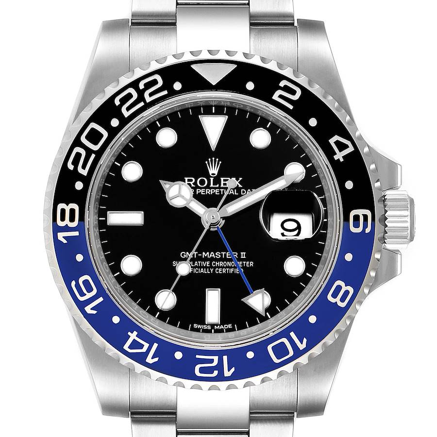 Rolex GMT Master II Batman Blue Black Ceramic Bezel Steel Watch 116710 SwissWatchExpo