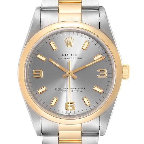 Photo of Rolex Oyster Perpetual Domed Bezel Steel Yellow Gold Mens Watch 14203
